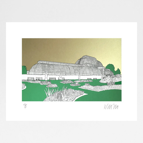 The Palm House, Kew - Gold screen print by Will Clarke at Of Cabbages and Kings