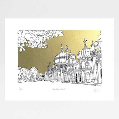 Brighton Pavilion - Gold screen print by Will Clarke at Of Cabbages and Kings