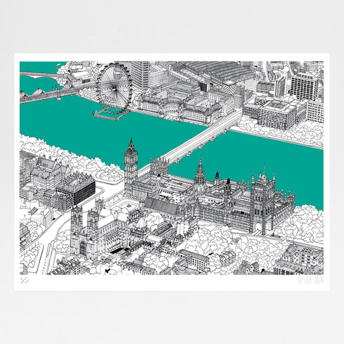 Westminster - screen print by Will Clarke at Of Cabbages and Kings