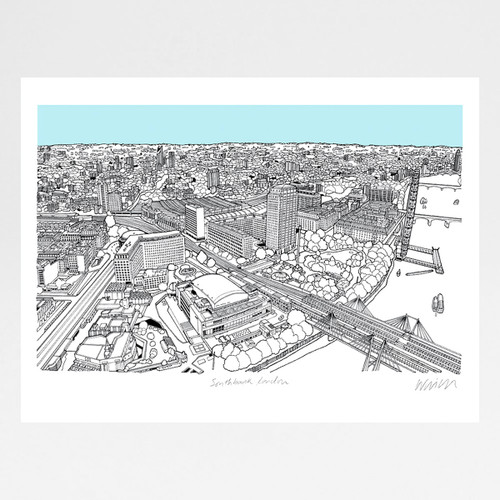 Southbank, London screen print by Will Clarke at Of Cabbages and Kings