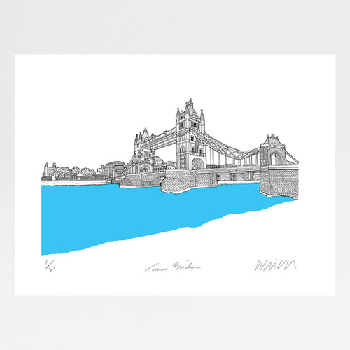 Tower Bridge, London screen print by Will Clarke at Of Cabbages and Kings