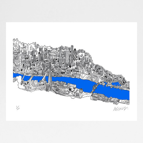 City of London screen print by Will Clarke at Of Cabbages and Kings