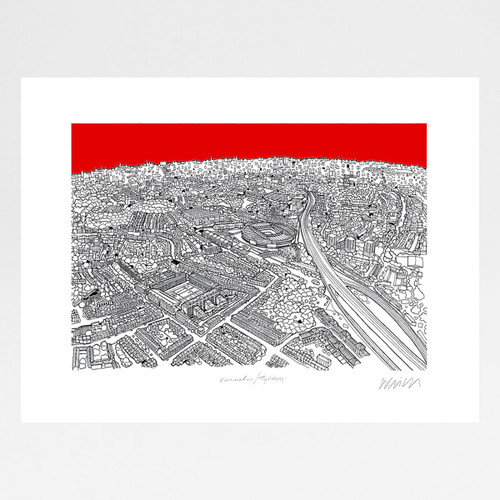 Emirates Stadium, Highbury screen print by Will Clarke at Of Cabbages and Kings