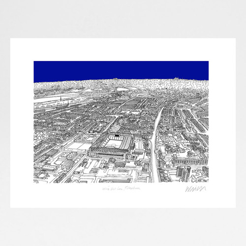 White Hart Lane Stadium, Tottenham screen print by Will Clarke at Of Cabbages and Kings