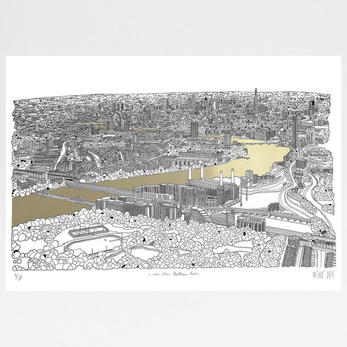 A View Over London from Battersea Park - Gold screen print by Will Clarke at Of Cabbages and Kings
