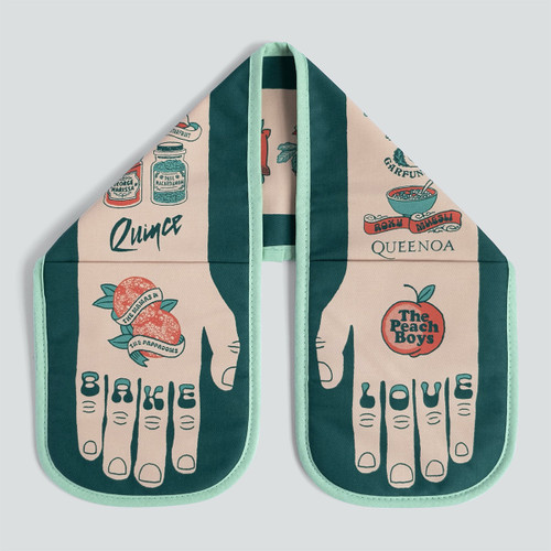 Bake Love Vegan Double Oven Glove by Stuart Gardiner at Of Cabbages and Kings