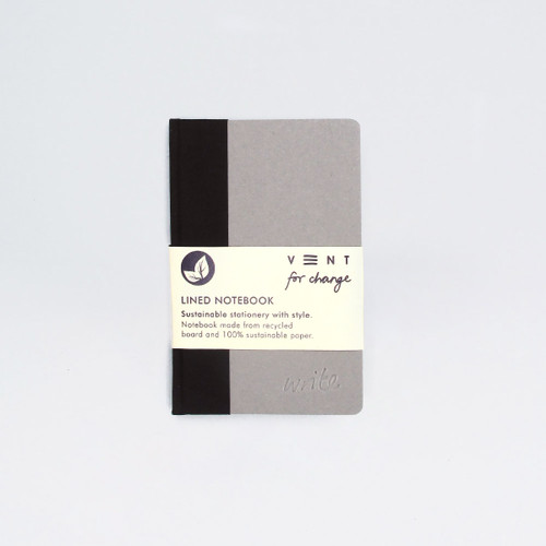 Sustainable Lined A6 Notebook - Black by VENT at Of Cabbages and Kings
