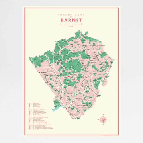 Barnet Retro Map Print by Mike Hall at Of Cabbages and Kings.