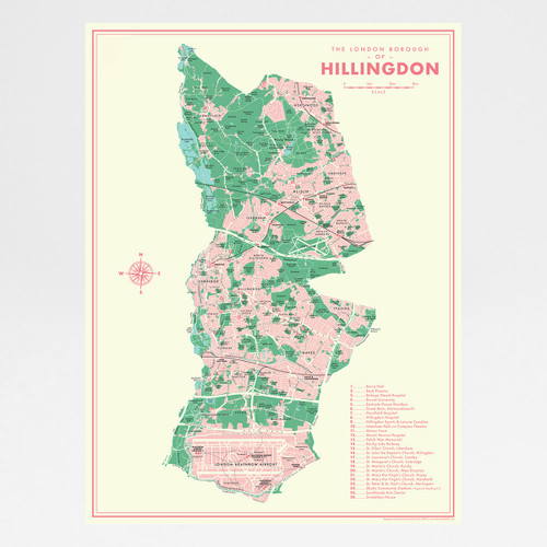Hillingdon Retro Map Print by Mike Hall at Of Cabbages and Kings.