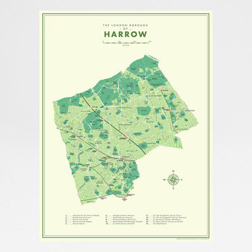 Harrow Retro Map Print by Mike Hall at Of Cabbages and Kings.