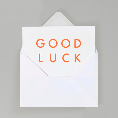 Good Luck Typographic Card by Ola at Of Cabbages and Kings