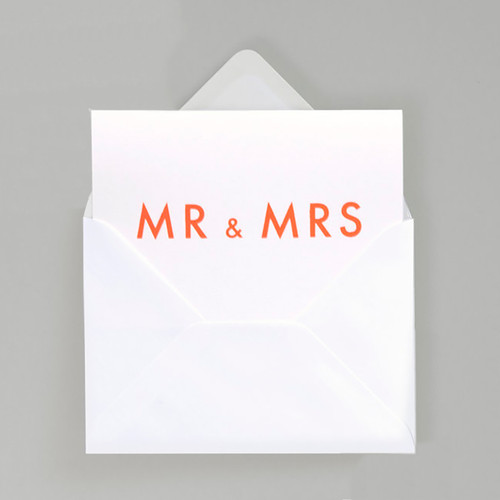 Mr & Mrs Typographic Card by Ola at Of Cabbages and Kings