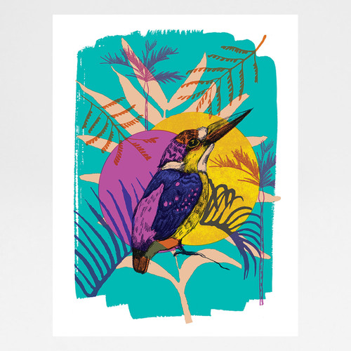 Dwarf Kingfisher screen print by Melissa North at Of Cabbages and Kings