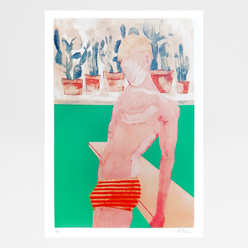 Pool Boy (Aqua) screen print by Gavin Dobson at Of Cabbages and Kings