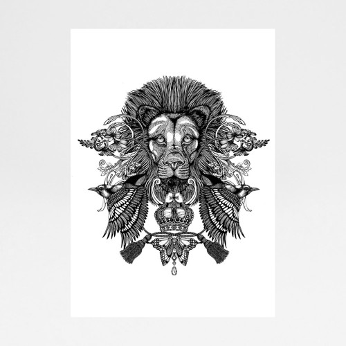 Regal Lion art print by Emily Carter at Of Cabbages and Kings.