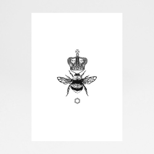 Queen Bee art print by Emily Carter at Of Cabbages and Kings.