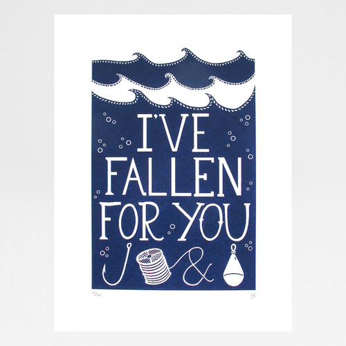 I've Fallen For You Hook, Line & Sinker print by Hazel Nicholls at Of Cabbages and Kings