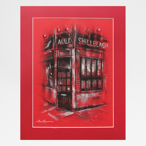 The Auld Shillelagh in Red original chalk drawing by Marc Gooderham at Of Cabbages and Kings