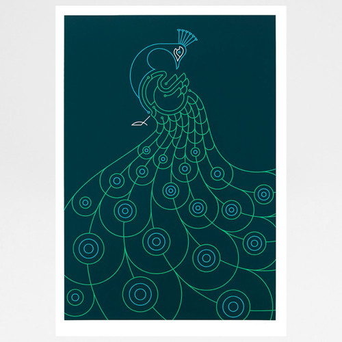 Peacock screen print by The Lost Fox available at Of Cabbages and Kings.