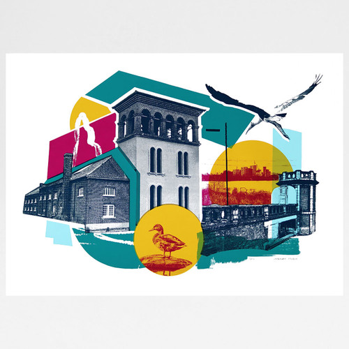 Walthamstow Wetlands screen print by Underway Studio at Of Cabbages and Kings