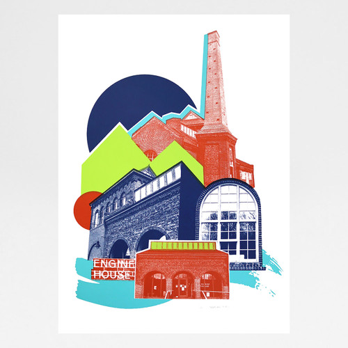 Engine House screen print by Underway Studio at Of Cabbages and Kings