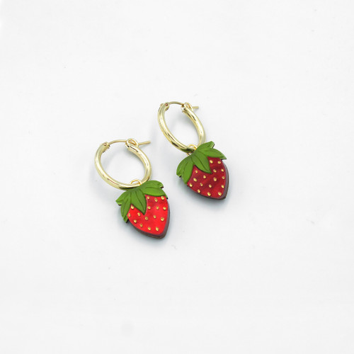 Mini Strawberry Hoops Earrings by Wolf and Moon at Of Cabbages and Kings