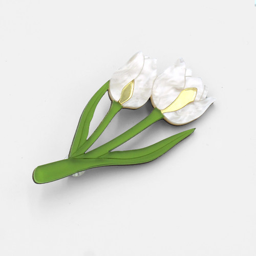 Double Tulip Brooch by Wolf and Moon at Of Cabbages and Kings