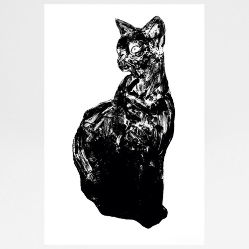 Black Cat screen print by Gavin Dobson at Of Cabbages and Kings