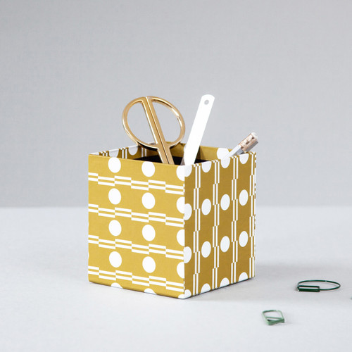 Handmade Pencil Pot - Benita print in Ochre by Ola