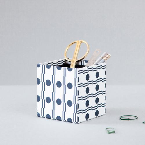 Handmade Pencil Pot - Benita print in Navy by Ola