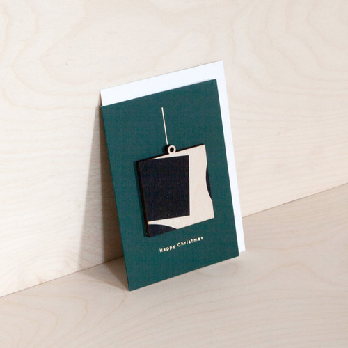 Screenprinted Wooden Ornament Card - Square on Forest Green by Ola at Of Cabbages and Kings