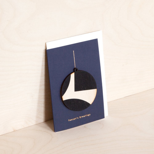 Screen Printed Wooden Ornament Card - Circle on Navy by Ola at Of Cabbages and Kings