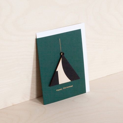 Screenprinted Wooden Ornament Card - Triangle on Navy by Ola at Of Cabbages and Kings