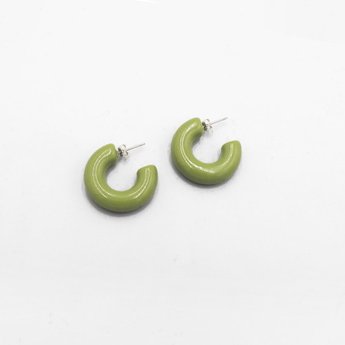 Sal Earrings in Bright Khaki by Custom Made at Of Cabbages and Kings
