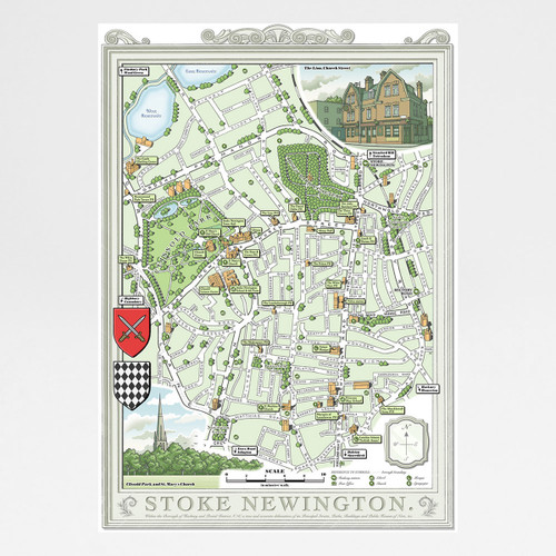 Illustrated Map of Stoke Newington art print by Mike Hall at Of Cabbages and Kings