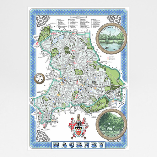 London Borough of Hackney Illustrated Map art print by Mike Hall at Of Cabbages and Kings.