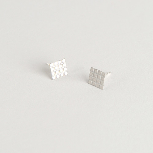 Mini Grid Earrings in Steel by Tom Pigeon at Of Cabbages and Kings