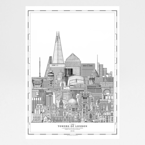 Towers of London Print art print by Mike Hall at Of Cabbages and Kings.