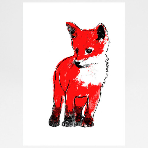 Red Fox Cub screen print by Tiff Howick at Of Cabbages and Kings.
