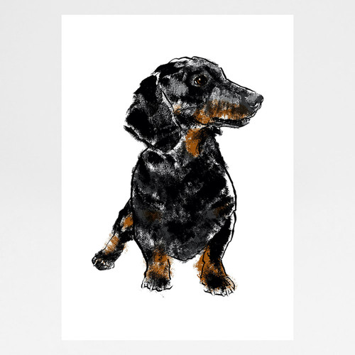 Dachshund screen print by Tiff Howick at Of Cabbages and Kings