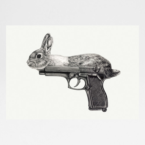Gun Bunny art print by Lauren Mortimer at Of Cabbages and Kings.