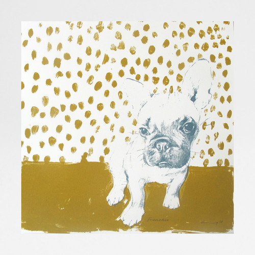 Frenchie in mustard by Freya Cumming at Of Cabbages and Kings.