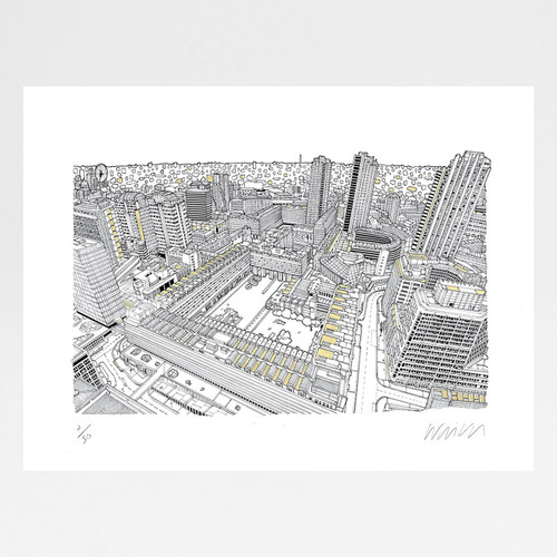 Barbican, London - Gold screen print by Will Clarke at Of Cabbages and Kings