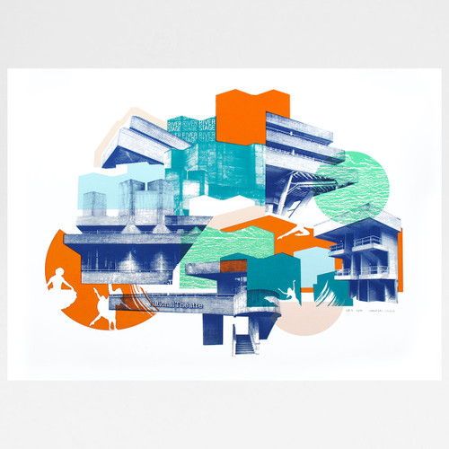 National Theatre 2nd Edition screen print by Underway Studio at Of Cabbages and Kings