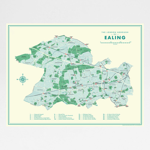 Ealing Retro Map Print by Mike Hall at Of Cabbages and Kings.
