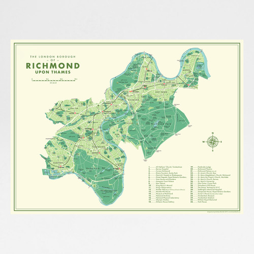 Richmond Upon Thames Retro Map Print by Mike Hall at Of Cabbages and Kings.