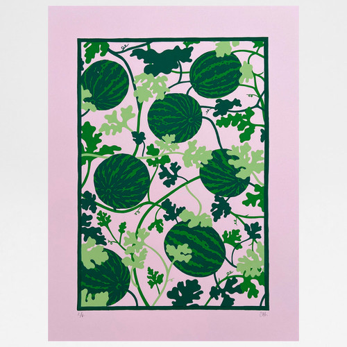 Watermelon Vine screen print by Claudia Borfiga at Of Cabbages and Kings