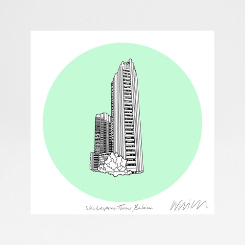 Shakespeare Tower screen print by Will Clarke at Of Cabbage and Kings