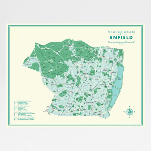 Enfield Retro Map Print by Mike Hall at Of Cabbages and Kings.