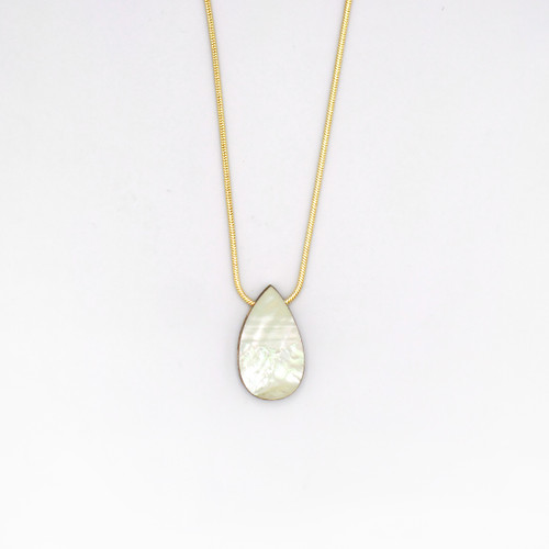 Raindrop Necklace - Mother of Pearl by Wolf and Moon at Of Cabbages and Kings